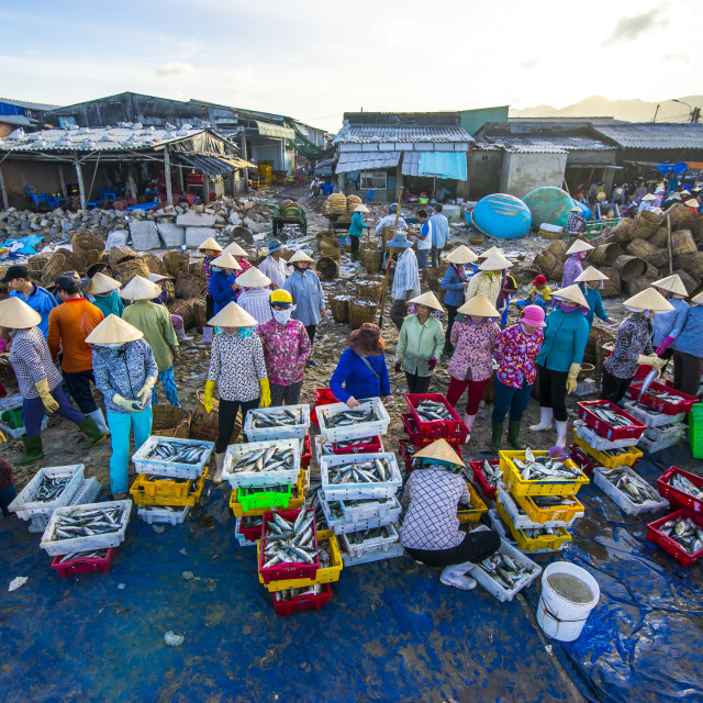 """Fish market in Long Hai beach"" stock image"