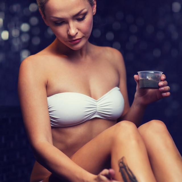 """""""beautiful woman applying therapeutic mud in spa"""" stock image"""