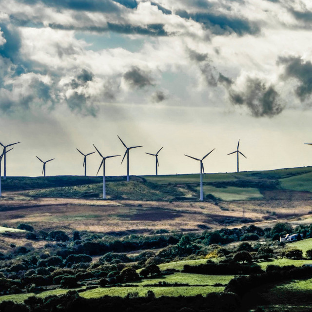 """Wind Farm on Mynydd Maendy."" stock image"