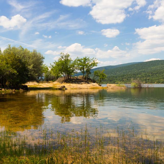 """Summer landscape with lake"" stock image"