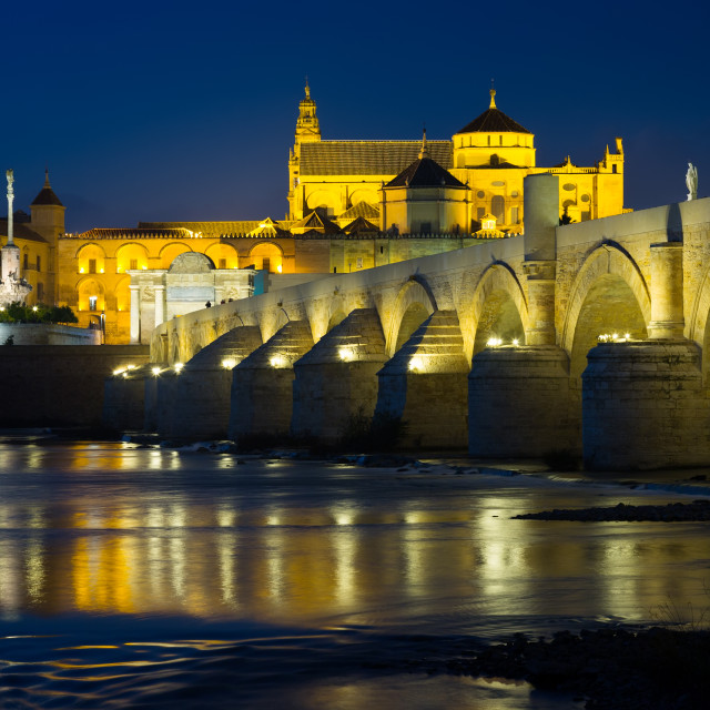 """Roman bridge and Mosque-cathedral of Cordoba in evening"" stock image"