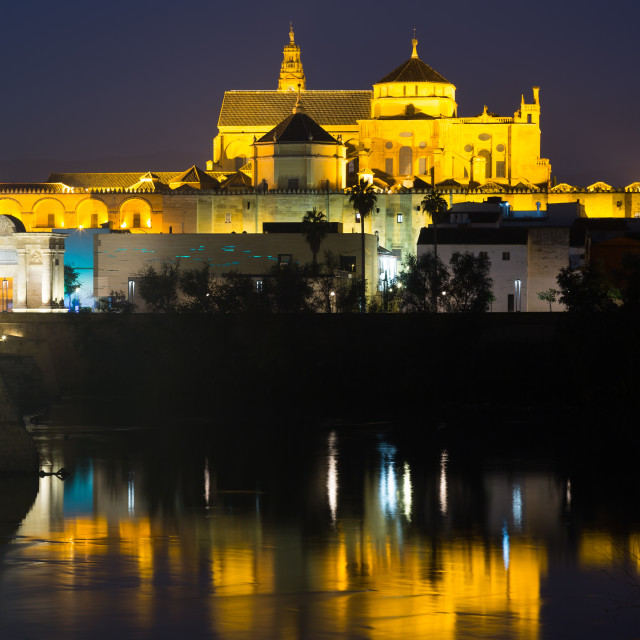 """Mosque-cathedral of Cordoba in night"" stock image"
