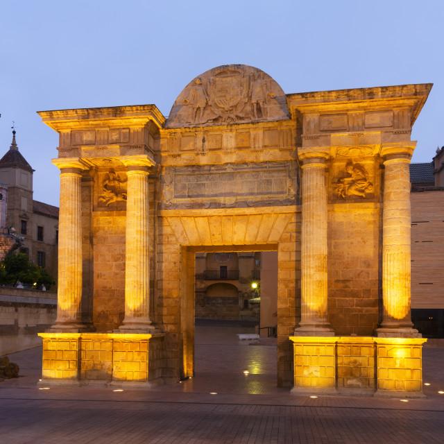 """""""Puerta del Puente in twilight. Cordoba, Spain"""" stock image"""