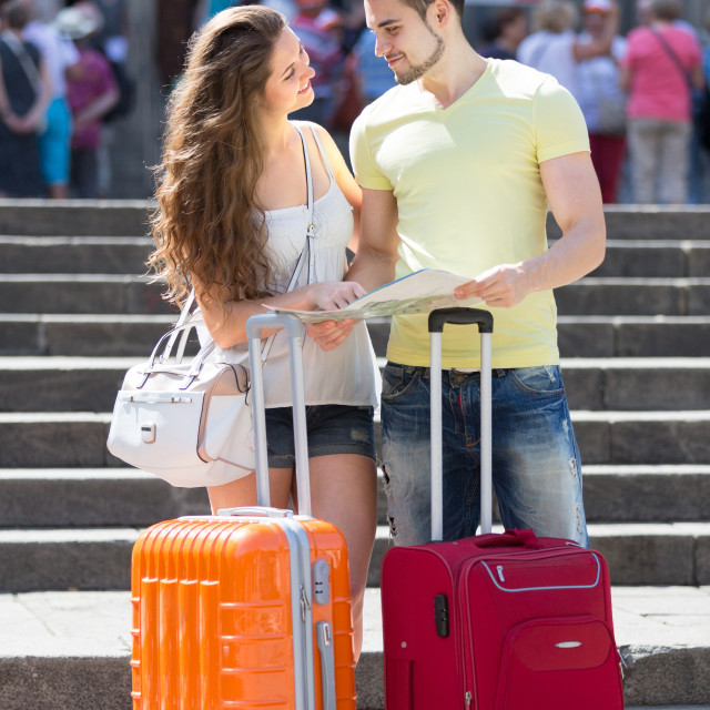 """""""Man and woman with city map"""" stock image"""