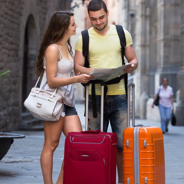 """travelers with luggage"" stock image"