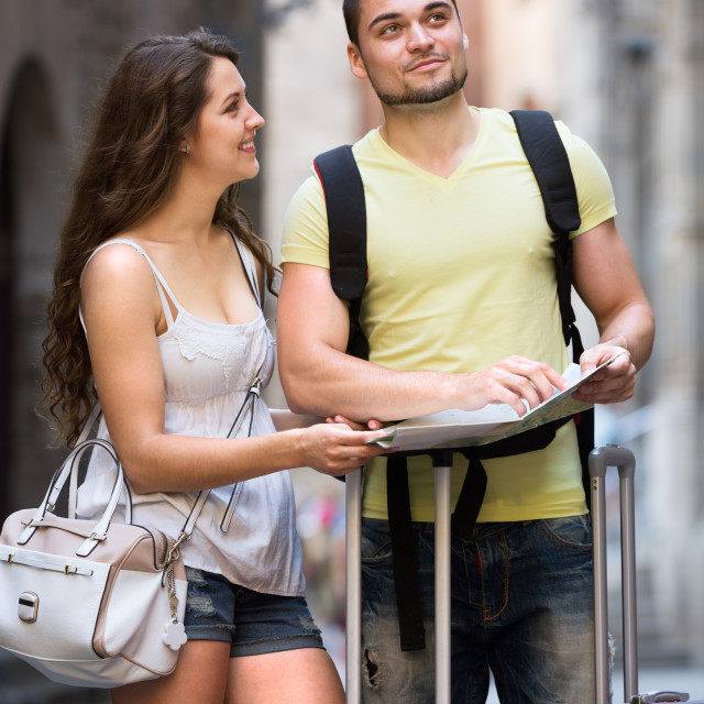 """""""friends with a city map"""" stock image"""
