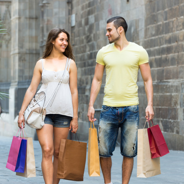 """""""Man and woman doing shopping"""" stock image"""
