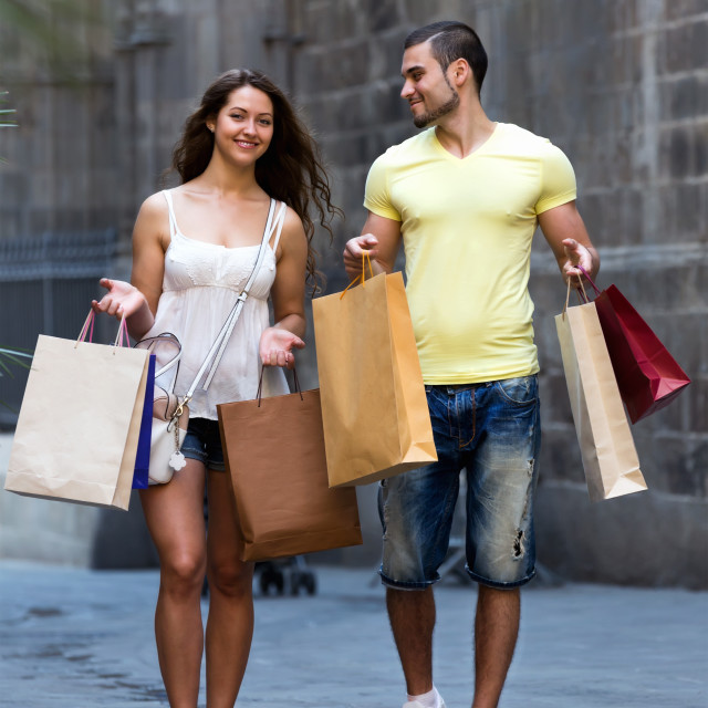 """""""Young tourists in shopping tour"""" stock image"""