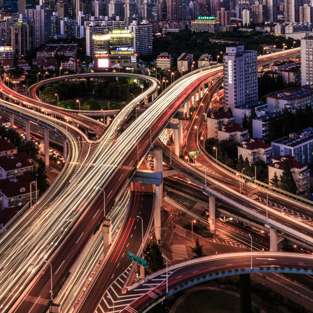 """fly-over crossing of shanghai"" stock image"