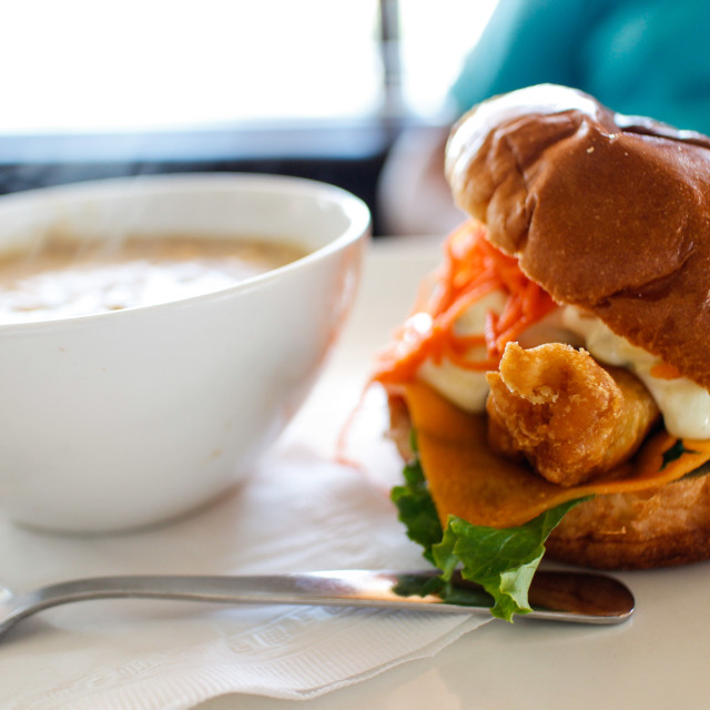 """fish burger with potato bacon chowder"" stock image"