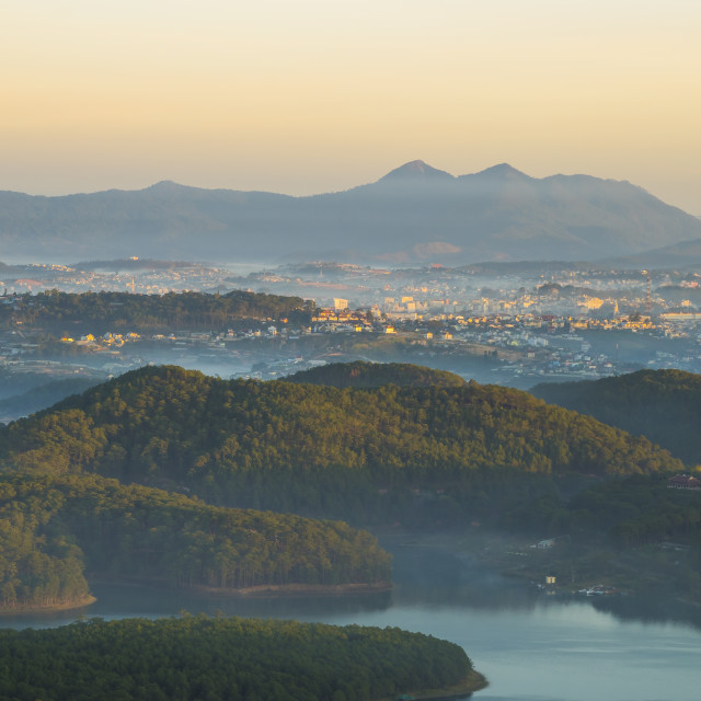"""Overview Dalat city on the top of mountain in early morning"" stock image"