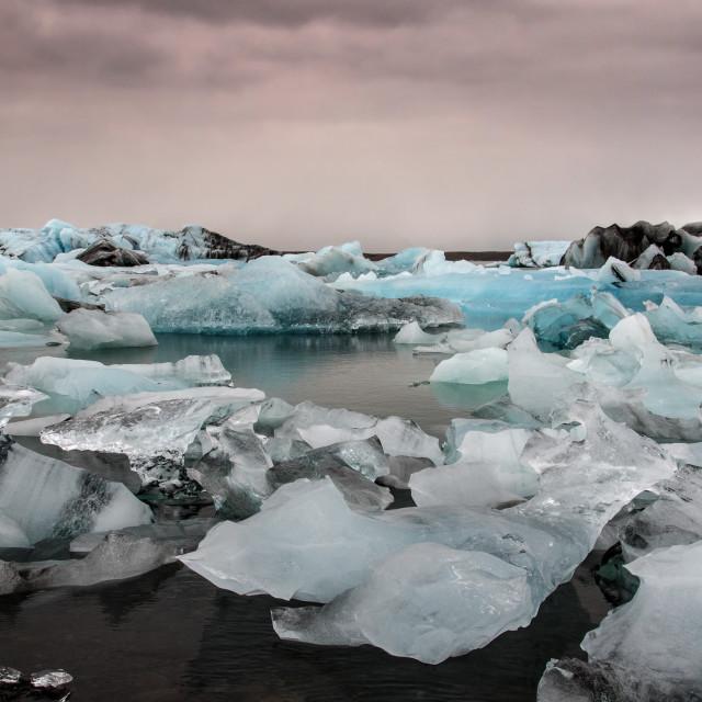 """Icebergs at Jokulsárlon Glacial Lagoon, Iceland"" stock image"