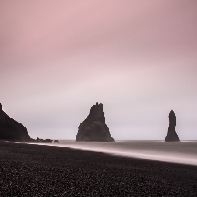 """Basalt sea stacks at Reynisdrangar, Iceland"" stock image"