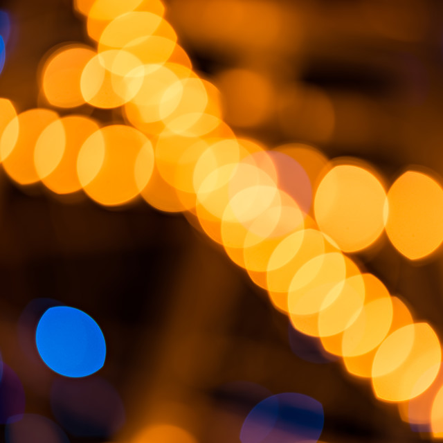 """Abstract golden and blue background, circular bokeh, out of focus lights"" stock image"