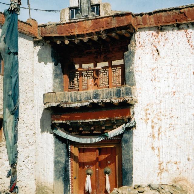 """Monastery doorway, Leh, India"" stock image"