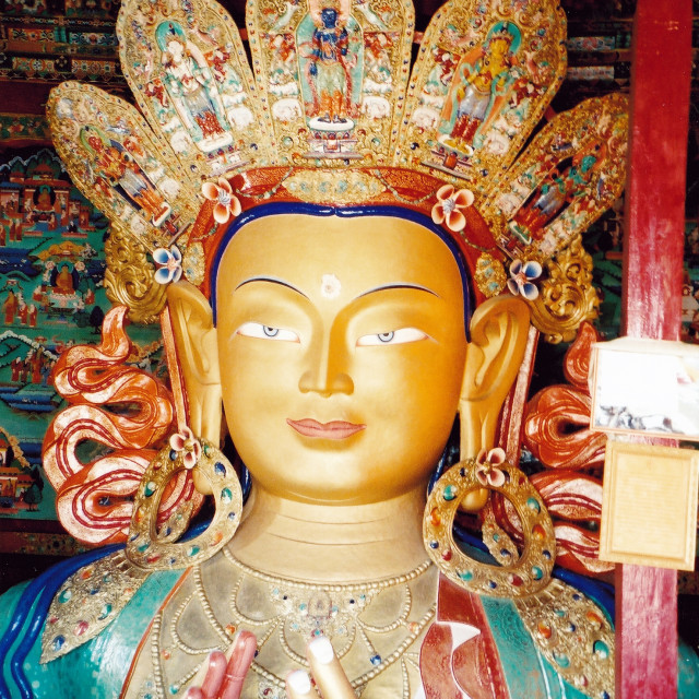 """Maitreya statue, Thiksey, Ladakh"" stock image"