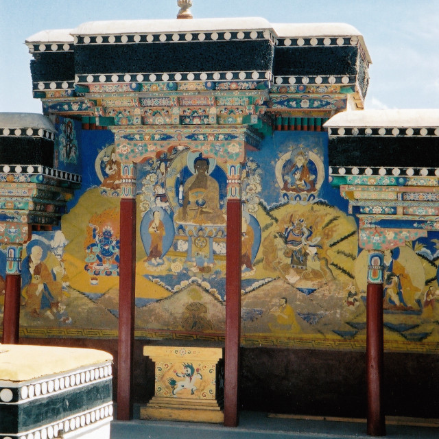 """Buddhist wall painting, Ladakh, India"" stock image"