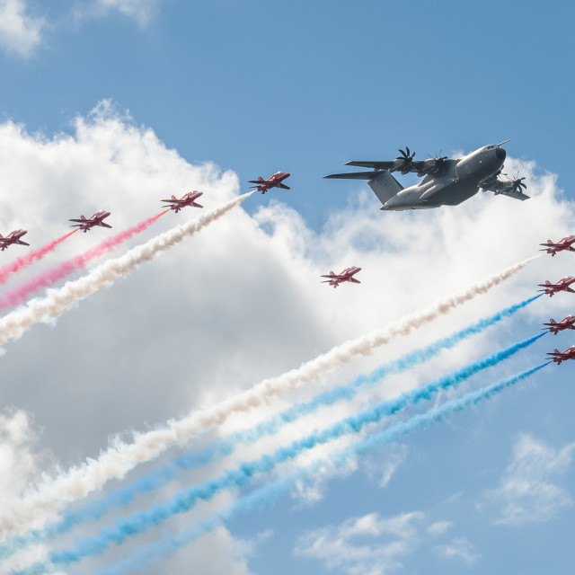 """Red Arrows and Airbus A400M"" stock image"