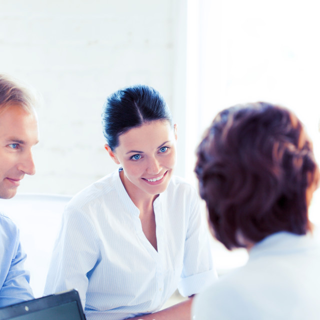 """""""businesswoman with team on meeting in office"""" stock image"""