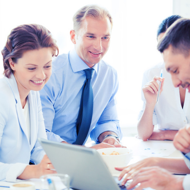 """""""businessman with team on meeting in office"""" stock image"""