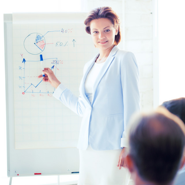 """""""businesswoman working with flip board in office"""" stock image"""