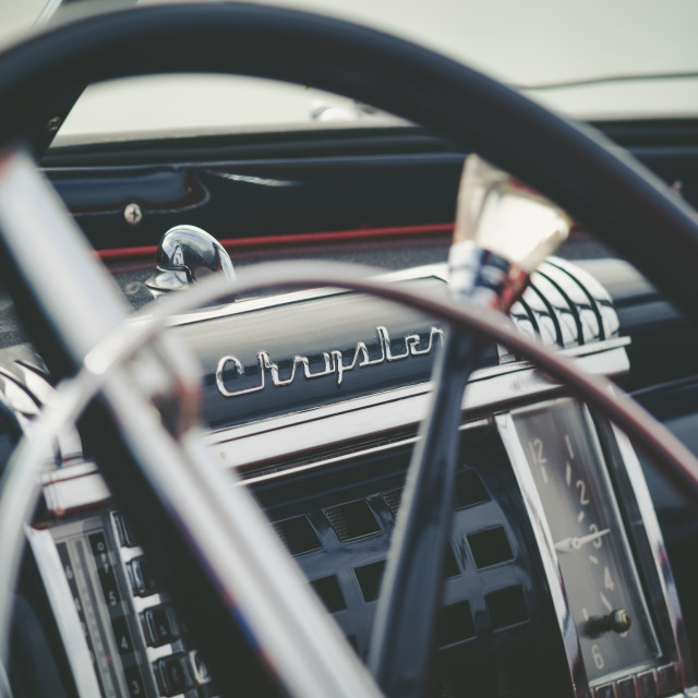 """Chrysler Vintage Car Details"" stock image"