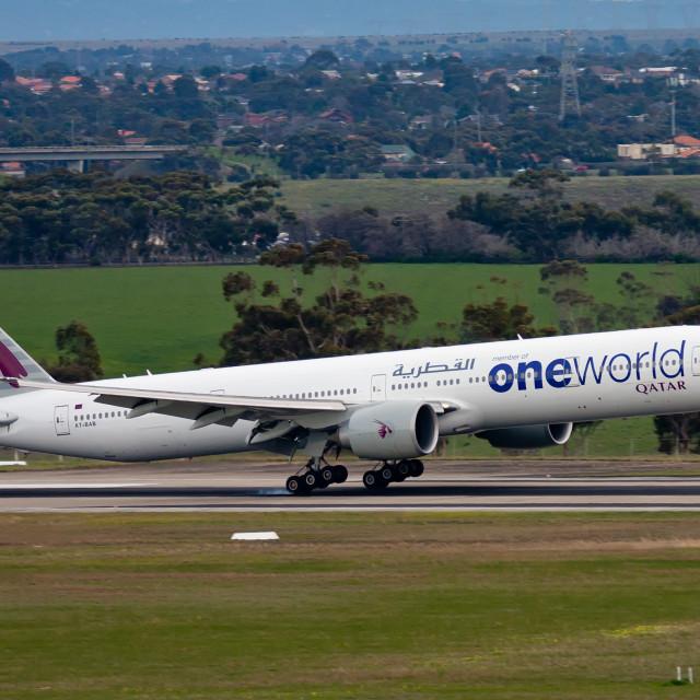 """QATAR 777 LANDING"" stock image"