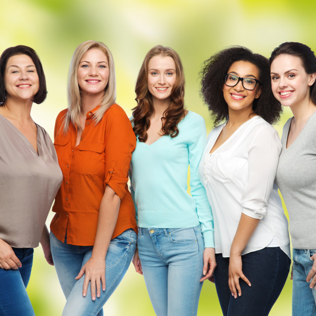 """""""group of happy different women in casual clothes"""" stock image"""