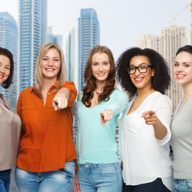 """""""happy women pointing finger on you in dubai city"""" stock image"""