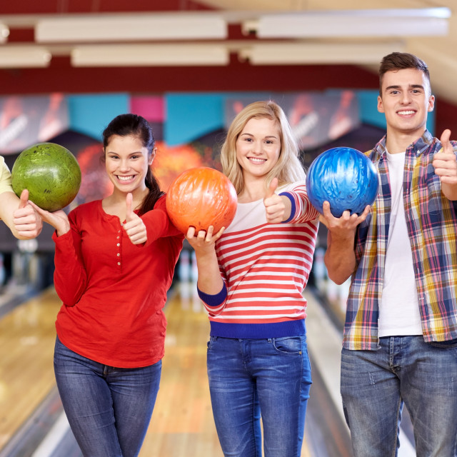 """""""happy friends in bowling club"""" stock image"""