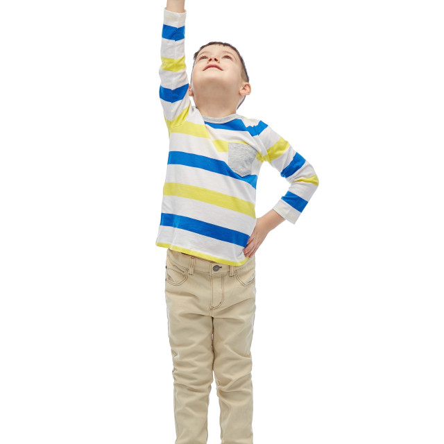"""""""happy smiling little boy with raised hand"""" stock image"""
