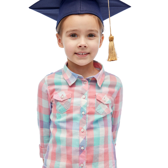 """""""happy girl in bachelor hat or mortarboard"""" stock image"""