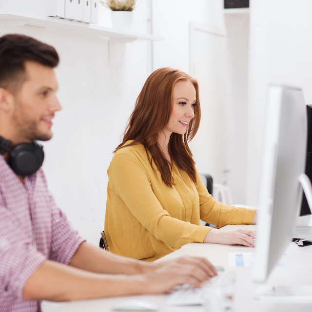 """""""creative team with headphones and computer"""" stock image"""