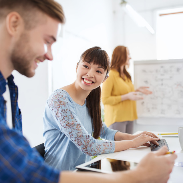 """""""creative team with tablet pc computer at office"""" stock image"""