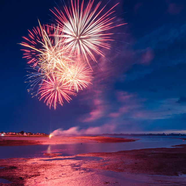 """Fireworks on the beach"" stock image"