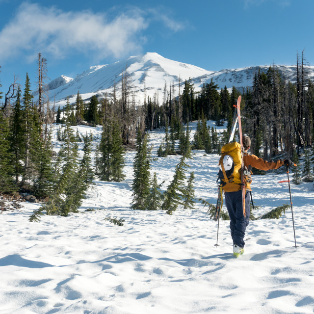 """Ski mountaineering on Mt. Adams"" stock image"