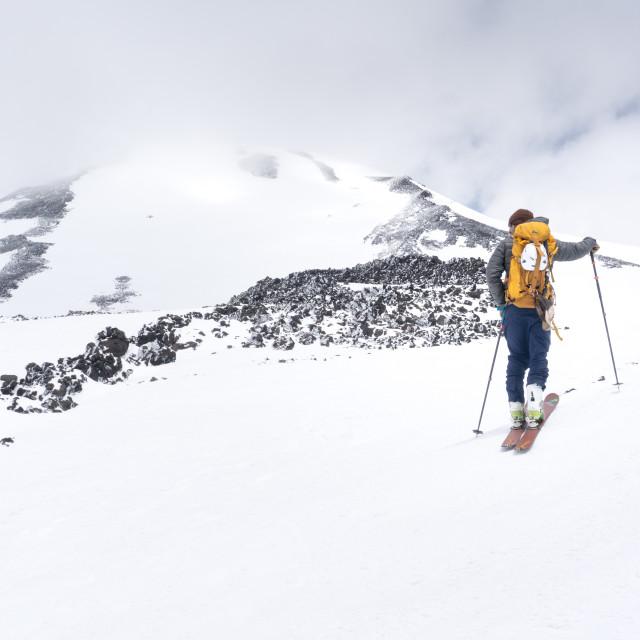 """Ski mountaineering on Mt. Adams"" stock image"