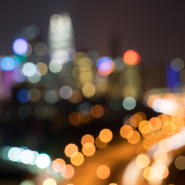 """Bokeh blurred background of Kuala lumpur city light at night"" stock image"