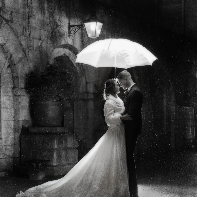 """A moment in the rain"" stock image"