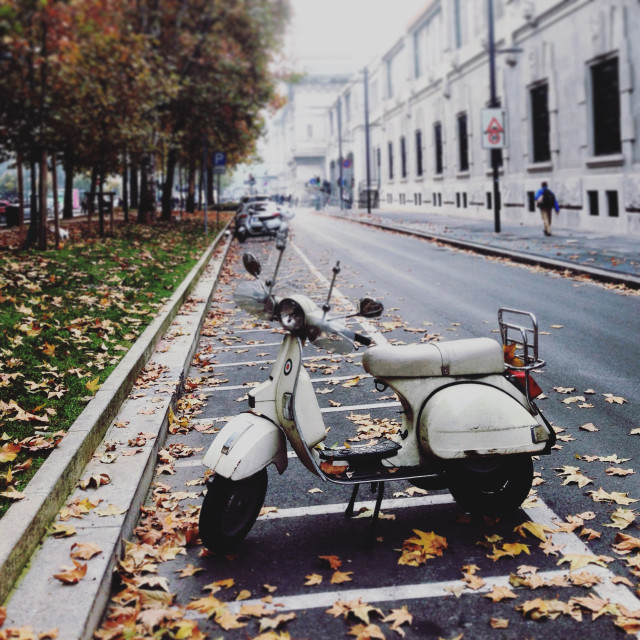 """Lonely Vespa in Milan"" stock image"