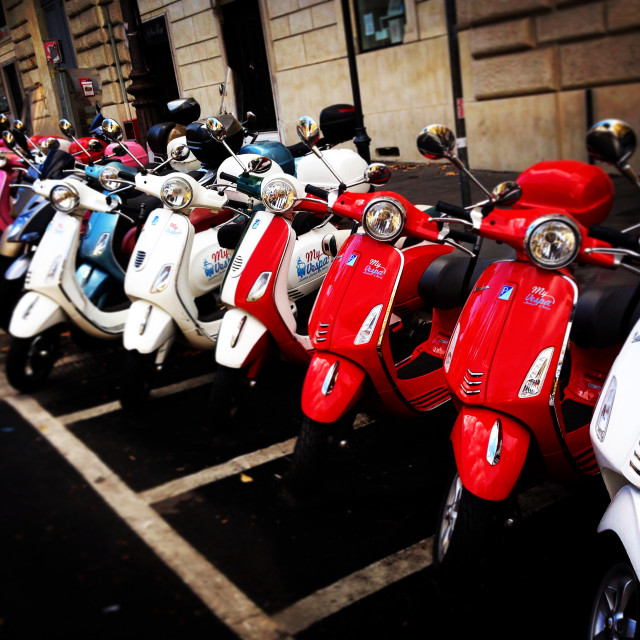 """Vespa showcase on street"" stock image"