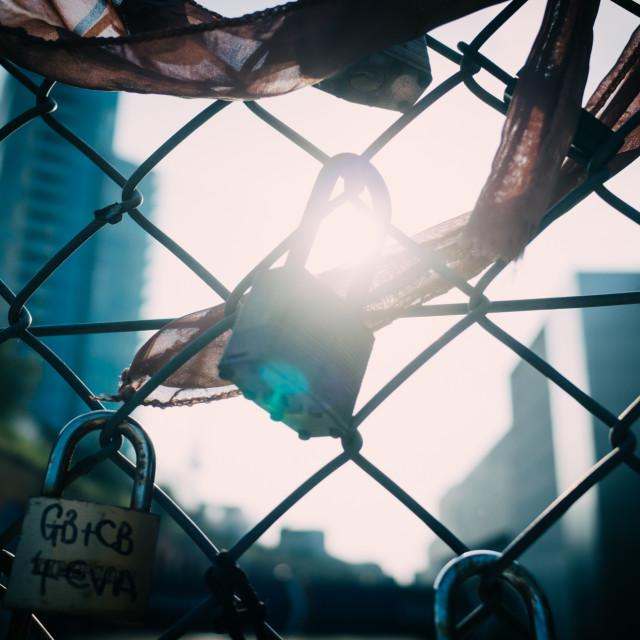 """Lovers' Locks"" stock image"