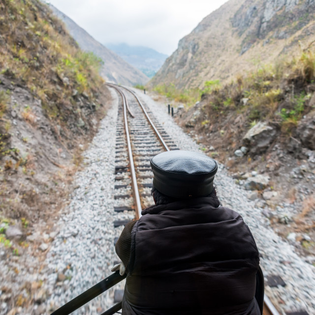 """Looking at Train Tracks"" stock image"