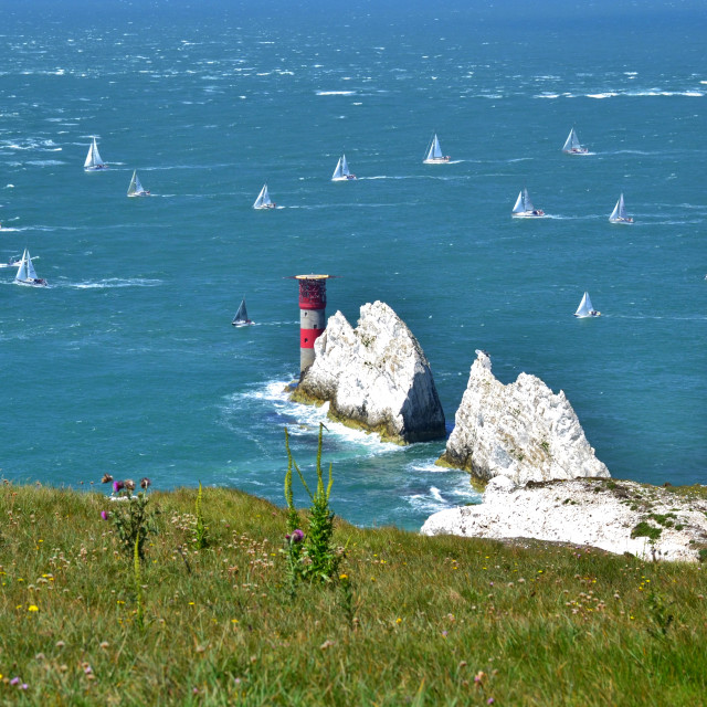 """Sailing the Needles"" stock image"