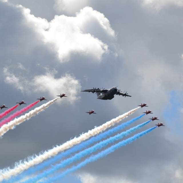 """""""Red Arrows Fly Past"""" stock image"""