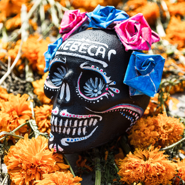 """A decorative skull lays on a bed of flowers in mexico city on day of the dead"" stock image"
