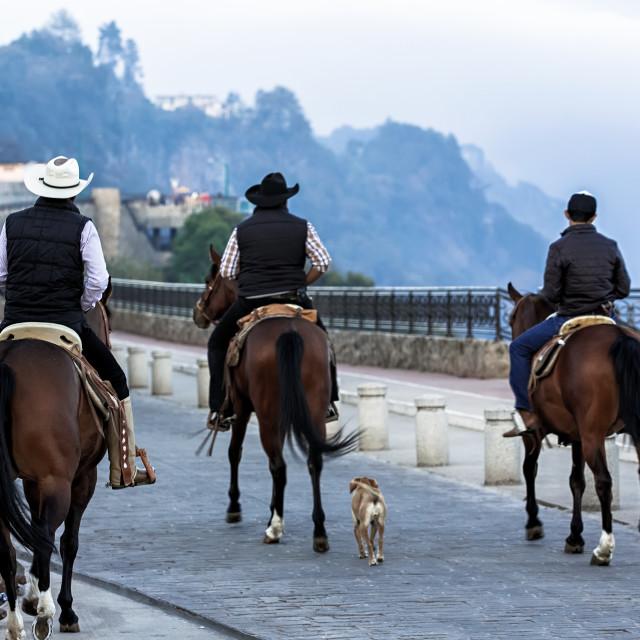 """""""3 men on horseback riding through a small village"""" stock image"""