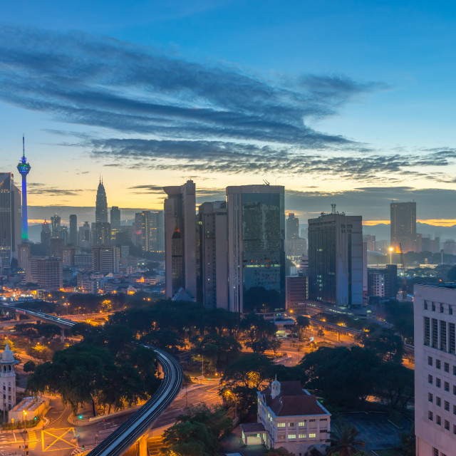 """Aerial view of beautiful sunrise at Kuala Lumpur city centre"" stock image"