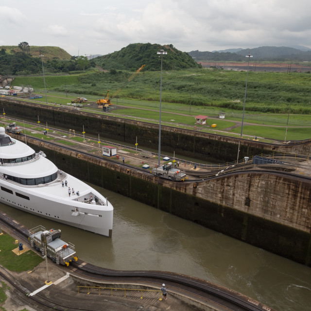 """A boat passes through Panama Canal in Panama City, Panama"" stock image"