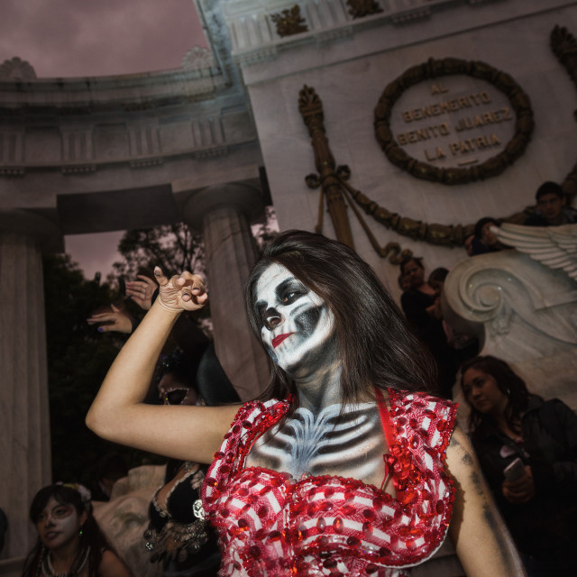 """""""A girl in fancy dress dancing for day of the dead in Mexico City, Mexico"""" stock image"""